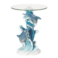 Playful Dolphins Marine Life Glass Top Accent Table