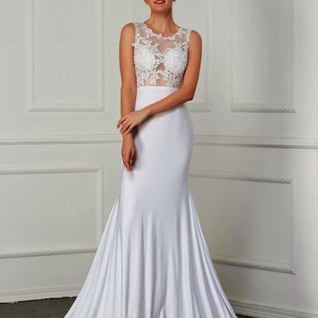 Sleeveless Lace Appliques Illusion Custom Made Simple Mermaid Wedding Dresses Zipper Back Court Train Bridal Gown