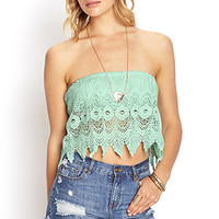 FOREVER 21 Crochet Lace Tube Top