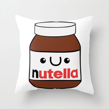 Cute Nutella Throw Pillow by LookHUMAN