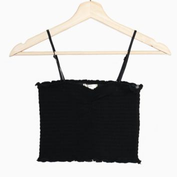 Smocked Cami Crop Top - Black
