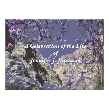 Celebration of Life Invitation Mountains Flowers