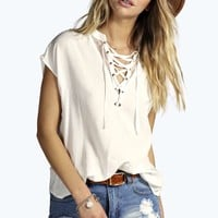 Isabel Lace Up Sleeveless Blouse