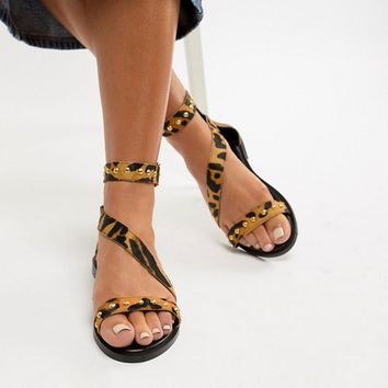 New Look Wide Fit Leather Leopard Stud Stap Flat Sandal at asos.com