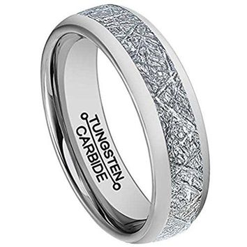 6mm Silver Tungsten Carbide Ring Vintage Meteorites Pattern Wedding Engagement Band Domed (Platinum)