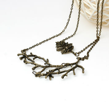 Handmade autumn Vintage Leaf Branch Necklace for Woman