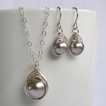 Grey Pearl Earring Necklace Set, Swarovski Pearl Jewelry Set, Herringbone Earring Pendant Sterling Silver Set, Christmas Gift for Her