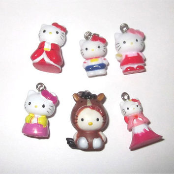 6pc Hello Kitty Charms Lot Kimono Pink Red Flower Dress Horse Costume Kawaii Wholesale Jewelry Making Supplies Sanrio 19mm