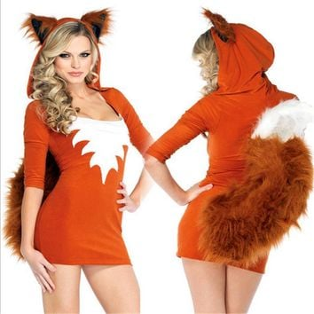 2017 New Sexy Cute Orange Tail Fox Halloween Animal Women Costumes Sexy Slim Dress Skirt Carnival Party Faux Fur Costume
