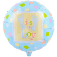 18 inch Baby shower balloon footprints mylar boy