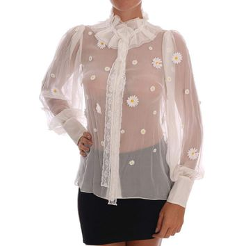 Dolce & Gabbana White Daisy Applique Silk Shirt