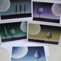 Greeting Cards - Set of 5 - Twilight Series - 5 x 6.5 Inches with Envelopes - Blank Inside - White Cardstock. Lollipop Tree, Moon, Stars