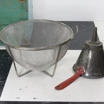 Ekco Mesh Strainer & Nesco Funnel . Vintage Kitchen Tools . Five Articles In One . Fruit Jar Filler, Measure, Dipper
