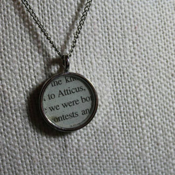 To Kill a Mockingbird book page resin necklace - Atticus