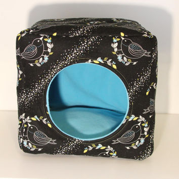 Guinea Pig Cuddle Cube, Hedgehog Snuggle Cozy - Reinforced Birds with Teal Fleece
