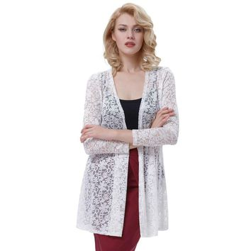 Long Sleeve Lace Jacket Bolero Bride Women White Bridal Wraps for Evening Party Dress Open Front Wedding Accessories