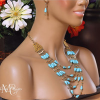 Turquoise Gold Multi Strand Fashion Necklace Earrings Set