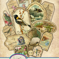 Bird Song Collage Sheet, Assorted Labels, Gift Tags, Bookmarks, Magnets, Scrapbooking, Instant Download