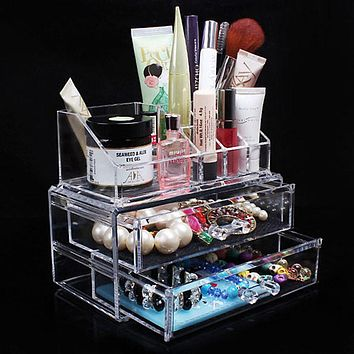 Acrylic Cosmetic Organizer Drawer Makeup Case Storage Insert Holder Box