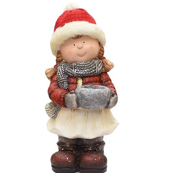 """17"""" Standing Young Girl in Ski Hat with Candle Holder Winter Outdoor Patio Garden Statue"""