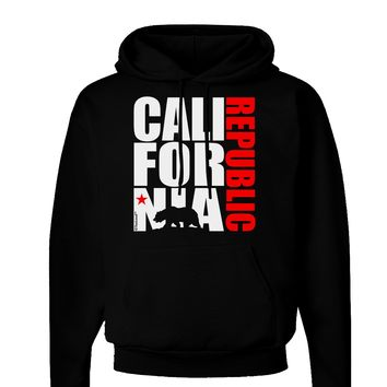California Republic Design - California Red Star and Bear Dark Hoodie Sweatshirt by TooLoud