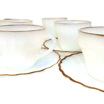 Vintage Anchor Hocking Cups and Saucers Milk Glass Fire King White and Gold Swirl Pattern Set of 6 Vintage Kitchen MCM Wedding