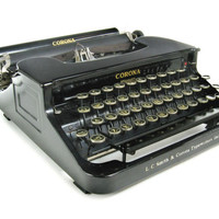 1938 Smith Corona Standard Typewriter / Flat Top / Antique / Working with Case and Key