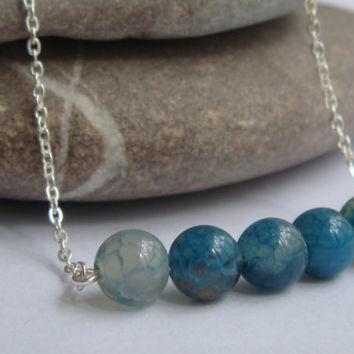 Blue Dragons Vein Agate Onyx Gemstone silver necklace, blue necklace, gemstones