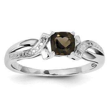 Sterling Silver Cushion Cut Smoky Quartz and Diamond Accent Ring