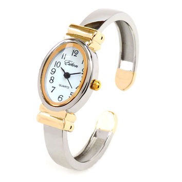 2Tone Small Size Oval Face Metal Band Women's Bangle Watch