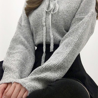 Lace-Up Front Knit Sweater | mixxmix