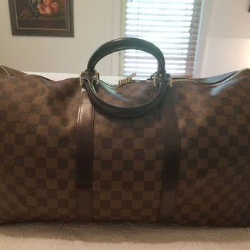 LMFXT3 AUTH LOUIS VUITTON UNISEX LV KEEPALL 50 DAMIER EBENE TRAVEL LUGGAGE XL TOTE BAG