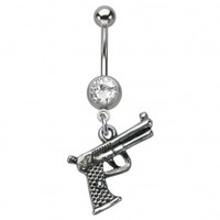 316L Surgical Steel Dangle Gun Belly Ring with Clear Crystal - 14G (1.6mm) - Sold Individually