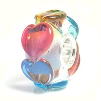 Sterling Silver Infinity Love Goes Round Rainbow Colorful Heart Glass Bead For European Charm Bracelets:Amazon:Jewelry