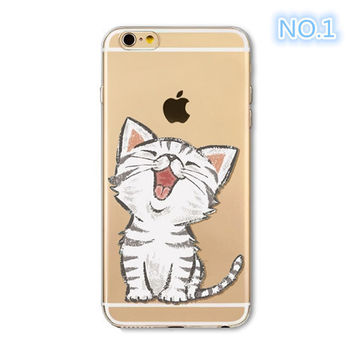 Phone Case For Apple iPhone 6 6S 6Plus 6s Plus 4 4S 5 5S SE Soft TPU Silicon Transparent Cover Cute Cat Owl Animal Phone Cases -0329