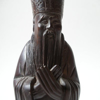 1920's Vintage Hand Carved Wood Statue of Asian Priest