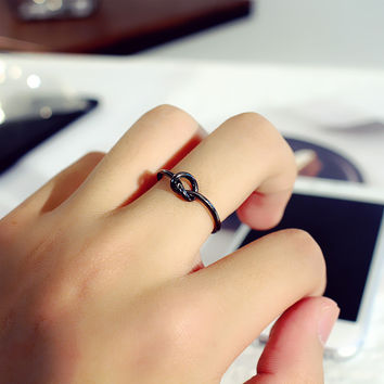 Simple Fashion Knotted Concentric Knot Unisex Ring Couple Little Finger Ring Open Ring