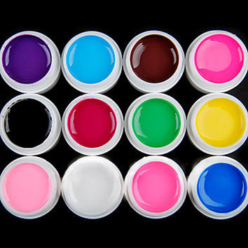 12PCS Pure Color UV Gel & Fast-drying Cleanser Polish (12mm)