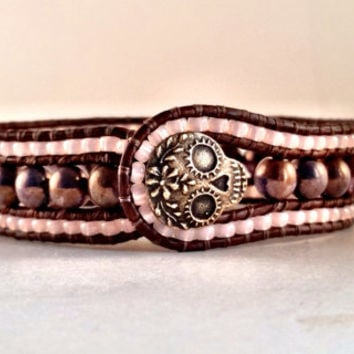 Beaded Leather Cuff, Plum Crazy, Handmade, Jewelry, Artisan, Sugar Skull