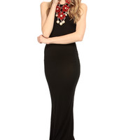 Black Cross Back Mermaid Maxi Dress