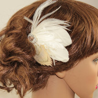 Bridal Hair Combs,Ivory Champange Feather Fascinator Hair Accessory,Peacock Hair Pieces,Wedding Headpice