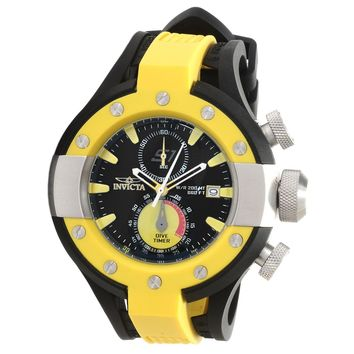Invicta 13061 Men's S1 Rally Yellow Bezel Black Rubber Strap Chronograph Dive Watch