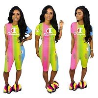 Champion Tide brand women's rainbow gradient color sexy letter two-piece #2