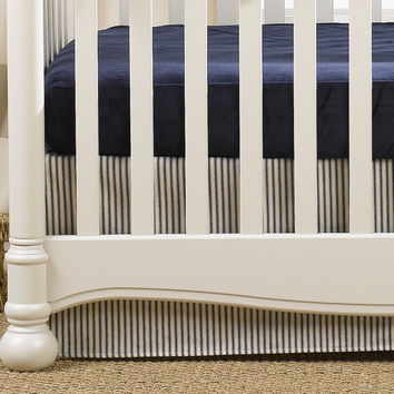 Navy Ticking Stripe 2-pc. Crib Bedding