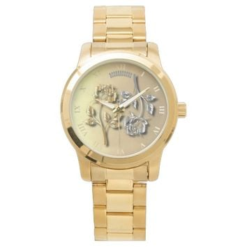Two Golden And Silver Roses With Shadows Wrist Watch