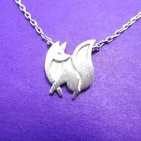 Baby Fox Shaped Silhouette Pendant Necklace in Silver | Animal Jewelry