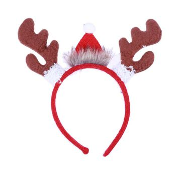 Cute Reindeer Antlers Headband Christmas Hat Hairband for Adults Kids Christmas Party Costume Props Hair Accessories