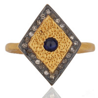 Pave Diamond Blue Sapphire18k Gold Vermeil 925 Sterling Silver High Fashion Ring