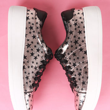 Metallic Stars Accent Lace Up Sneaker | UrbanOG
