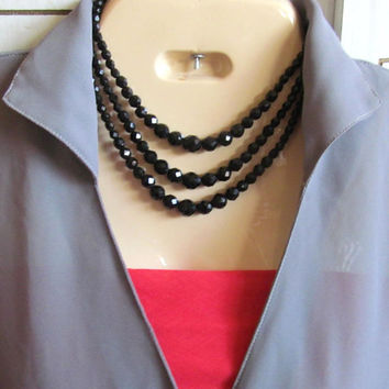 Vintage Laguna 3 strand black crystal necklace